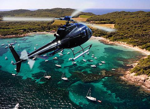 Vol privé en hélicoptère à destination de Porquerolles