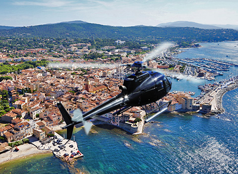 Helicopter flying over the village of Saint-Tropez
